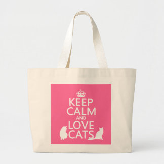 Keep Calm and Love Cats Large Tote Bag