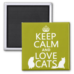 Square Magnet with Keep Calm and Love Cats design