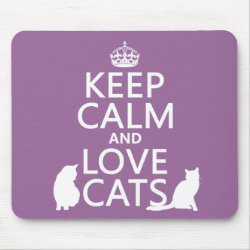 Mousepad with Keep Calm and Love Cats design