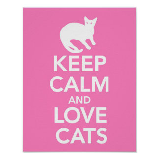 Keep Calm and Love Cats pink print