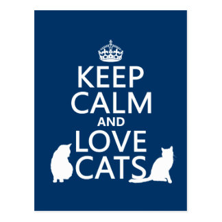 Keep Calm and Love Cats Post Card