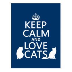 Postcard with Keep Calm and Love Cats design