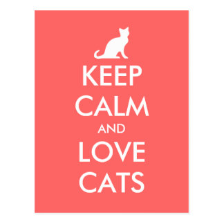 Keep calm and love cats postcard Coral pink