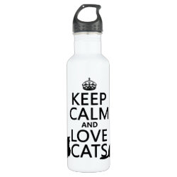 Water Bottle (24 oz) with Keep Calm and Love Cats design