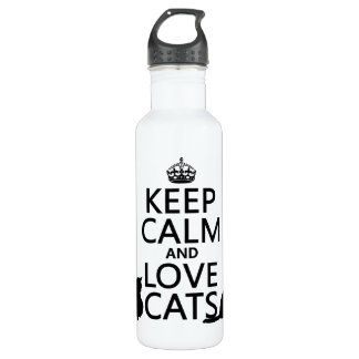 Keep Calm and Love Cats Stainless Steel Water Bottle