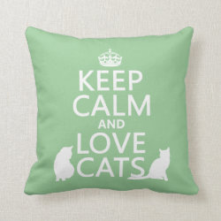 Cotton Throw Pillow with Keep Calm and Love Cats design