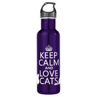 Keep Calm and Love Cats Water Bottle