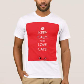 Keep Calm and Love Cats White Paw T-Shirt