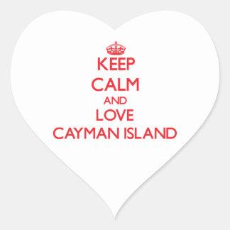 Keep Calm and Love Cayman Island Heart Stickers
