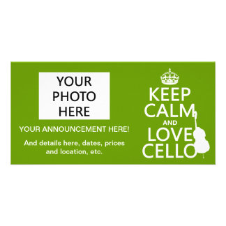 Keep Calm and Love Cello (any background color) Card
