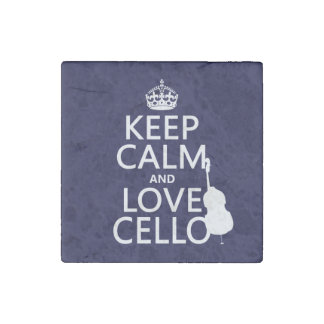 Keep Calm and Love Cello (any background color) Stone Magnet