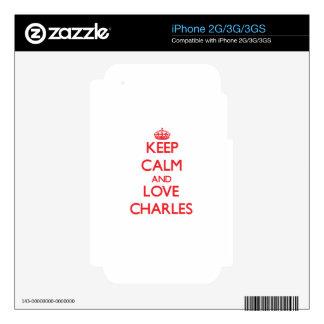 Keep calm and love Charles iPhone 3 Skin