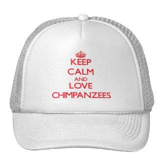 Keep calm and love Chimpanzees Mesh Hats