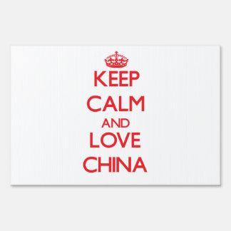 Keep Calm and Love China Yard Signs