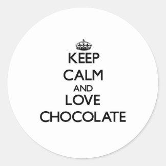 Keep calm and love Chocolate Sticker