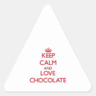 Keep calm and love Chocolate Triangle Stickers
