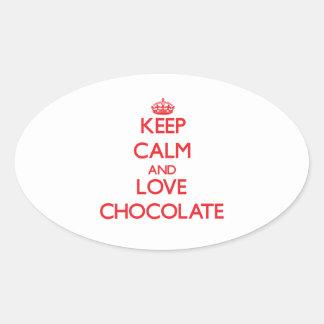 Keep calm and love Chocolate Oval Sticker