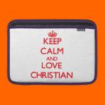 Keep calm and love Christian Sleeve For MacBook Air
