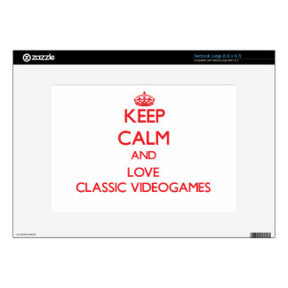 Keep calm and love Classic Videogames Large Netbook Skin