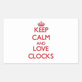 Keep calm and love Clocks Rectangular Sticker