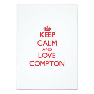 "Keep calm and love Compton 5"" X 7"" Invitation Card"