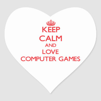 Keep calm and love Computer Games Heart Sticker