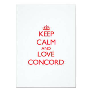 "Keep Calm and Love Concord 5"" X 7"" Invitation Card"