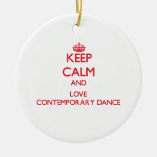 Keep calm and love Contemporary Dance Ceramic Ornament