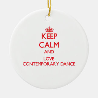 Keep calm and love Contemporary Dance Double-Sided Ceramic Round Christmas Ornament