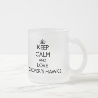 Keep calm and Love Cooper's Hawks 10 Oz Frosted Glass Coffee Mug