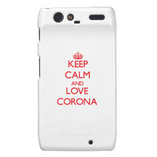 Keep Calm and Love Corona Motorola Droid RAZR Covers
