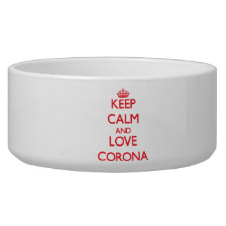 Keep Calm and Love Corona Dog Water Bowl