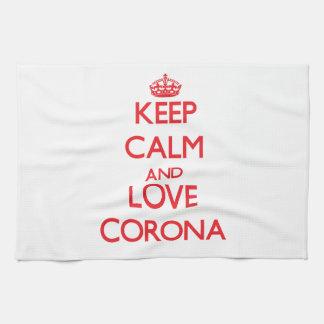 Keep Calm and Love Corona Kitchen Towel