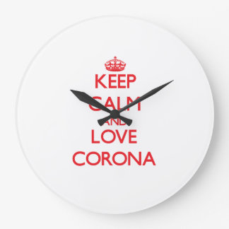 Keep Calm and Love Corona Wallclock