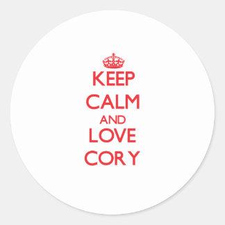 Keep Calm and Love Cory Round Sticker