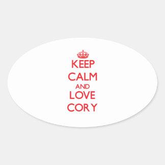 Keep Calm and Love Cory Oval Sticker