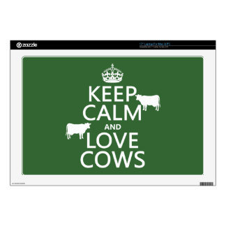 """Keep Calm and Love Cows (all colors) Decals For 17"""" Laptops"""