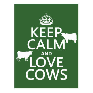 Keep Calm and Love Cows (all colors) Postcard