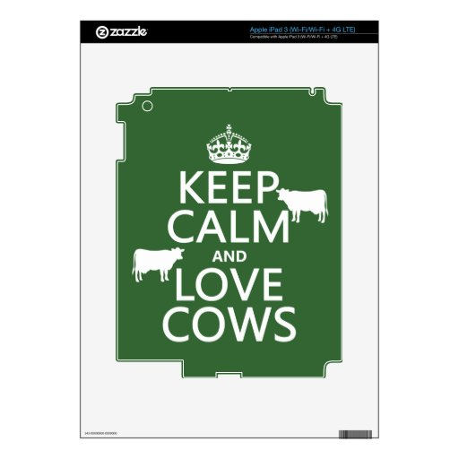 Keep Calm and Love Cows (all colors) Decal For iPad 3