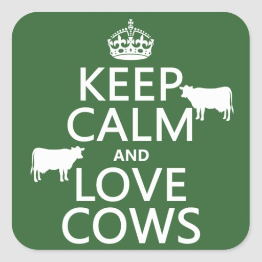 Keep Calm and Love Cows (all colors) Stickers