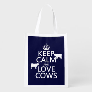 Keep Calm and Love Cows (all colors) Reusable Grocery Bags