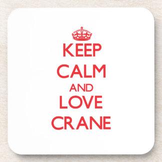 Keep calm and love Crane Drink Coasters
