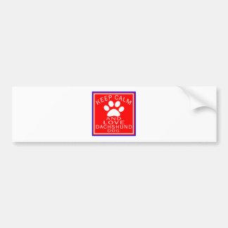 Keep Calm And Love Dachshund Bumper Stickers