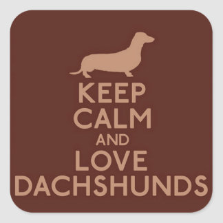 Keep Calm and Love Dachshunds Square Sticker