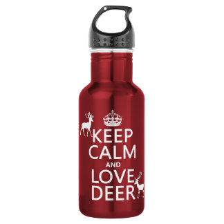 Keep Calm and Love Deer (any background color) Stainless Steel Water Bottle