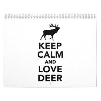Keep calm and love deer calendar