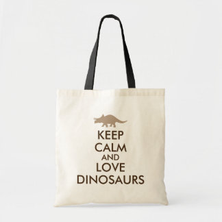 Keep Calm and Love Dinosaurs Triceratops Custom Tote Bag