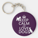 Keep Calm and Love Dogs - all colors Basic Round Button Keychain