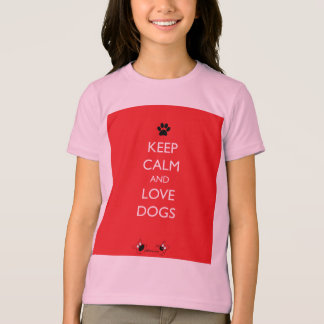 Keep Calm and Love Dogs Black Paw T-Shirt