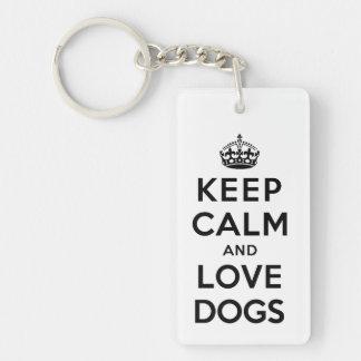 Keep Calm and Love Dogs Double-Sided Rectangular Acrylic Keychain
